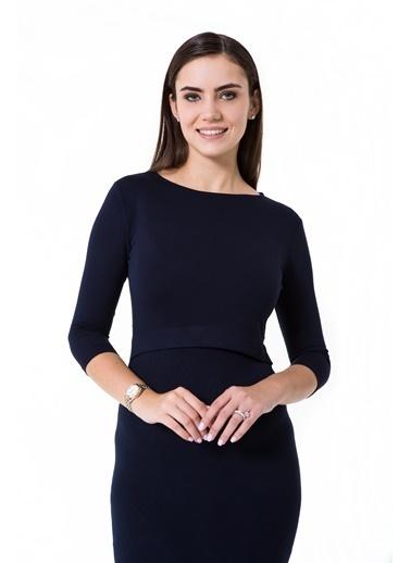Accouchée Kolay Emzirme Özellikli Elbise Lacivert